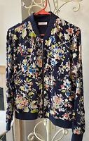 Equipment Femme Navy Blue Floral Print Silk Jacket Size S Front Zipper EUC