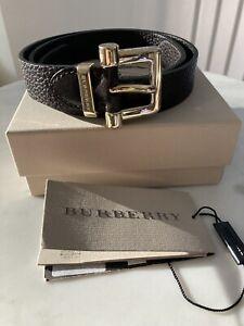 Womens Burberry Calf Leather Belt Size 75/30 Dark Brown