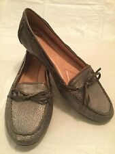 Women's 9 M Nurture Shoes Pewter Leather Loafers Ballet Flats Slip Ons Soft sw