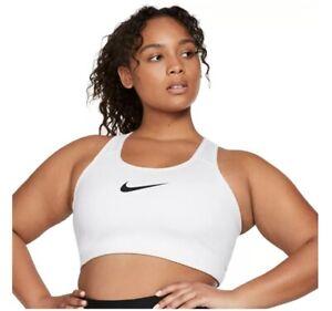 Nike PLUS SIZE WOMEN'S Sport Bra Swoosh DJ0746 100 WHITE SPORTSWEAR Sz 1X