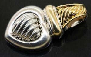 David Yurman 18K yellow gold 925 Sterling silver heart pendant w/ enhancer bail