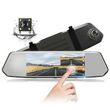 "Backup Camera 7"" Mirror Dash Cam Touch Screen 1080P Rearview Front and Rear Dual"