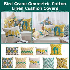 Mustard Teal Geo Bird Heavy Duty Linen Cotton Cushion Cover Home Decor Pillow