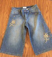Crest Jeans Women's Juniors Capri SZ 11/12 Flowered Sequins Bling The Collection