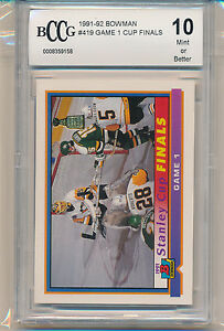 1991-92 Bowman Game #1 Cup Finals (#419) BCCG10 BCCG