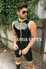 Men Sleeveless Short Catsuit Rubber Latex Outfit with Cod Piece Fashion Bodysuit