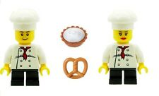 LEGO 2 x Mini Chef Minifigures Male & Female with Pastries Pie Bread Food NEW