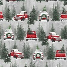 HOLIDAY TRADITIONS RED WAGONS CHRISTMAS TREES SNOW FABRIC