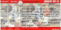 Ticket - Coventry City v Norwich City 14.02.04 Directors Box