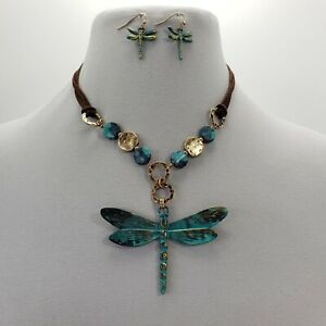 Brown Suede Hammered Charms Dragonfy Pendant Patina Tone Necklace & Earrings