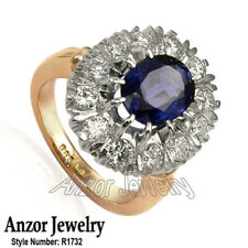 18k Rose and White Gold Genuine Sapphire & Diamond Russian Style Ring #R1732