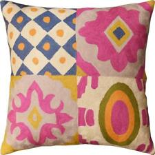 """Floral Four Square Elements Decorative Pillow Cover Handembroidered Wool 20""""x20"""""""