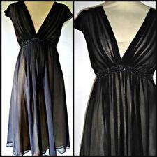 MONSOON 40s 50s vintage style silk chiffon beaded dress UK 10