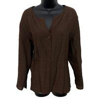 Eileen Fisher Brown Striped Button Top Linen Blend Italian 3/4 Sleeve Blouse XL