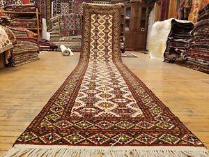 "Fine Muted Dye 3'1""×14'3"" Paky-Afghan New Zealand Wool Pile Turkoman Runner Rug"