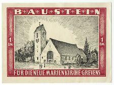 I 056  Greven Westf. Baustein zu 1 DM für die neue Marienkirche. ca. 1950/51