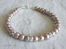 Pale Coffee Brown Pearls Fashion Bracelet With Crystals & Silver Rondelles