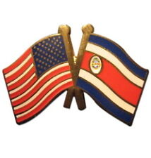 Costa Rica Friendship with USA Flag Lapel Badge Pin