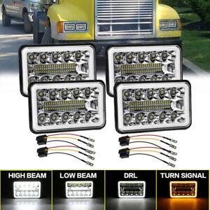 For Peterbilt 379 378 Freightliner FLD120 4PCs 4x6'' LED Headlights Hi/Lo Beam
