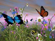 Flowers & Butterflies - Edible Image Cake Sugar Frosting Sheet Topper