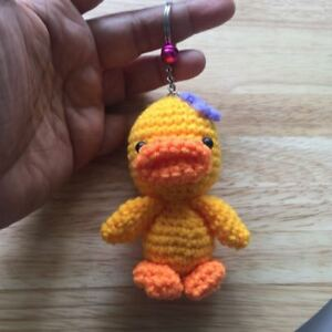 CUTE GIRL DUCK CROCHET STUFFED  CARTOON DOLL AMIGURUMI DOLL  KEY CHAIN HANDMADE