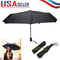 Black Automatic Travel Umbrella Auto Open Close Compact Folding Rain Windproof