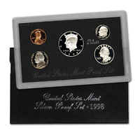 1998 US MINT SILVER PROOF SET - BOX, COA , 5 COINS