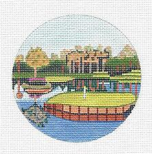 "*2017* ""TPC Sawgrass, Florida"" GOLF Course HP Needlepoint Canvas Purple Palm"