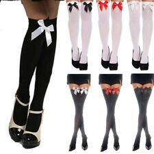 Ladies Over The Knee Hold Up Bows Stockings Socks Thigh High Fancy Dress EF WS T