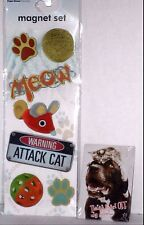 Dog Cat Pets Refrigerator Magnets Friends Meow Paws Mouse Yarn 7 Pack Plus 1