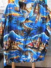 3XL Blue Sunset Woodies Surfboards Planes Hawaiian Shirt Coco Buttons USA Made