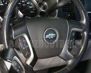 (07-13) Silverado Tahoe Carbon Fiber Steering Wheel Spoke Overlay Decal Cover