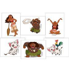 12 Moana Character Temporary TATTOOS Party Favors Supplies Birthday Treat Bags