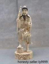 Rare Chinese Old Cattle bone master Hand carved Old man fishing Fisherman statue