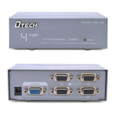DTECH Powered 4 Port VGA Splitter Box SVGA Video Distribution 1 PC to 4 Monitor