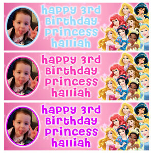 DISNEY PRINCESSES Personalised Birthday Banner - Birthday Party Banner - 1x3ft