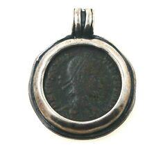 Silver Pendant With Ancient Roman Bronze Coin Constantius II