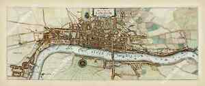antique map plan London as in Q Elizabeth time Stow Strype 1720 art poster print