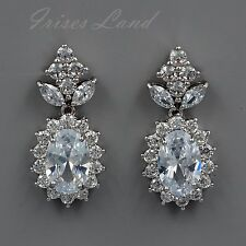 White Gold Plated Cubic Zirconia CZ Wedding Bridal Drop Dangle earrings 8520 New