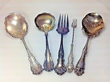 5 ASSORTED ANTIQUE SILVER PLATED FLATWARE SERVING ITEMS