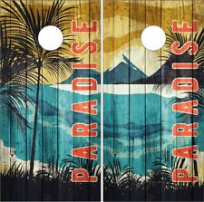 Beach Mountains Sunset Wood Cornhole Wrap Bag Toss Skin Decal Sticker Wraps