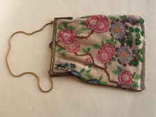 Antique Victorian Micro Bead Sac/Sac à main fleuri pour réparation ou pièces