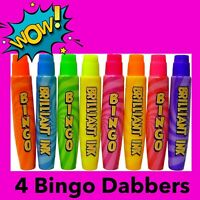 4 15ml Fluorescent Neon Ink Bingo Dabbers Dauber Markers for Bingo Tickets