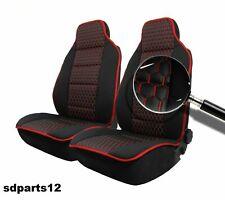 Pour Nissan Peugeot Housses Auto Noir Siège Fil Rouge En Cuir Tissu Deluxe