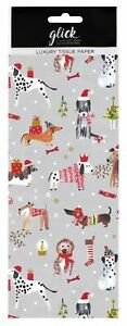 Luxury Festive Dogs Christmas Tissue Paper - Pack of 4 50 x 75cm Gift Wrap