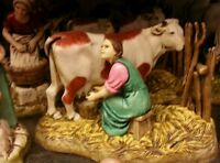 1 gruppo contadina munge mucca per pastori landi 10 cm presepe crib shereped