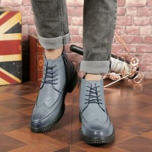 Men Flat Retro Faux Leather Carved Brogue Pointy Toe High Top Combat Boots N145