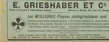 SAINT-MAUR PLAQUES PHOTOGRAPHIQUES GRIESHABER PUBLICITE 1901
