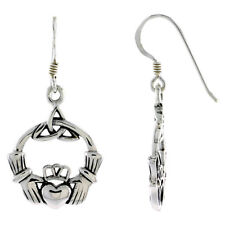 Dangle Earrings w/ Triquetra Celtic Sterling Silver Claddagh Friendship Symbol