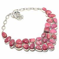 """Rhodochrosite Rough Gemstone Handmade 925 Silver Jewelry Necklace 18"""" KAJ-610"""